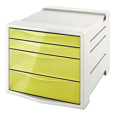 Bloc de classement Esselte Colour'Ice - 14 L - L24,5 x H36,5 x P28,5 cm - 4 tiroirs - jaune
