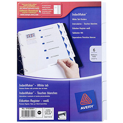 Intercalaires personnalisables Avery Index Maker - polypropylène 28/100e - A4 - 6 positions