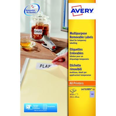Étiquettes Avery - 25,4 x 10 mm - paquet 4725 unités (photo)