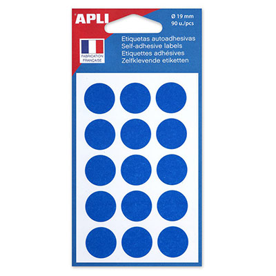 Pastilles adhésives de couleur Agipa - Ø 19 mm - pochette de 90 - coloris bleu