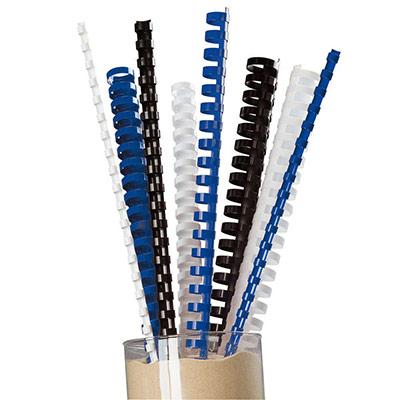 Baguettes de reliure plastique - diamètre 8 mm bleu - boîte de 25 (photo)