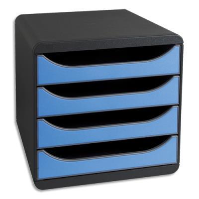 Module de classement à 4 tiroirs Big Box - coloris gris / bleu glace - 27,8 x 26,7 x 34,7 cm