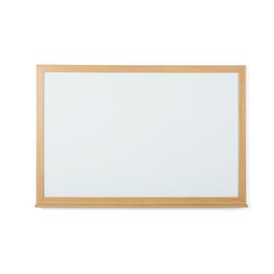 Tableau blanc recyclable acier laqué magnétique Earth Bi-Office - cadre bois chêne - L120 x H90 cm