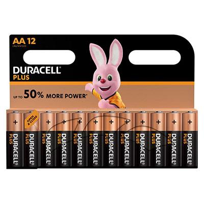 Pile Duracell AA LR6 Plus Power alcalines - 1,5V - blister de 12 piles