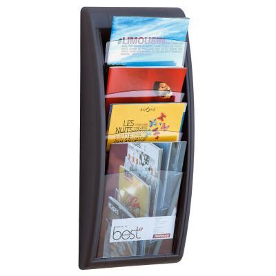 Présentoir Quick Fit System - Mural - 4 cases A4 - anthracite