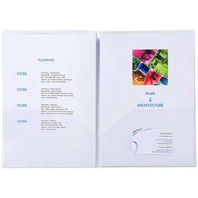 Chemise de présentation Exacompta double poche pour document A4/ A3 - polypropylène transparent - cristal