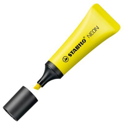 Surligneur tampon STABILO BOSS NEON - pointe biseautée - encre à base d'eau - jaune