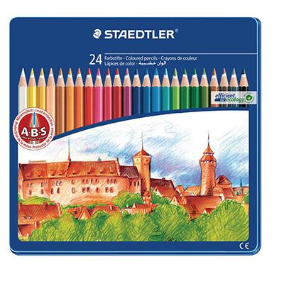 Noris Club 144 - crayons de couleur - corps hexagonal - mines aux couleurs assorties - paquet 24 unités