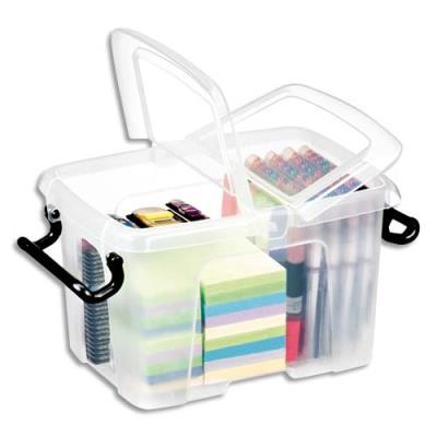Boîte de rangement en plastique Strata - 6 L - couvercle clipsé - dim int 15,7 x 22,1 x 15,5 cm (photo)