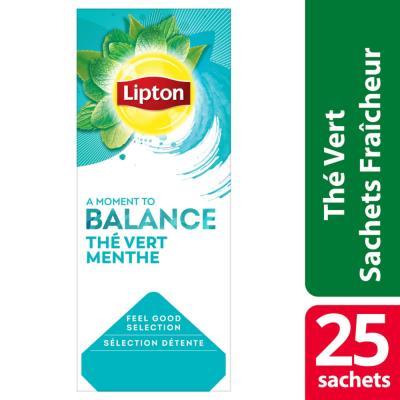 Thé vert goût menthe Lipton - boîte de 25 sachets (photo)