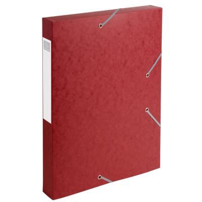 Boîte de classement Cartobox - 3 rabats et élastiques - carte 7/10e - dos 40 mm - rouge