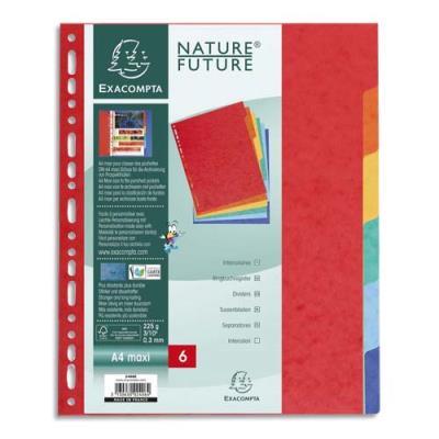 Intercalaires touches neutres Exacompta - carte 225 g - A4+ - 6 positions - coloris assortis