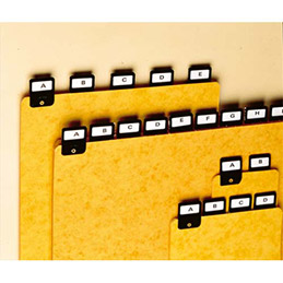 Jeu de 25 intercalaires alphabetiques avec onglet métallique pour boîte à fiches VAL-REx - format A6 en hauteur