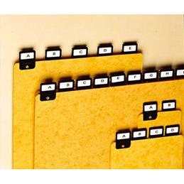 Jeu de 25 intercalaires alphabétiques avec onglet métallique pour boîte à fiches Val-Rex - format A6 en largeur