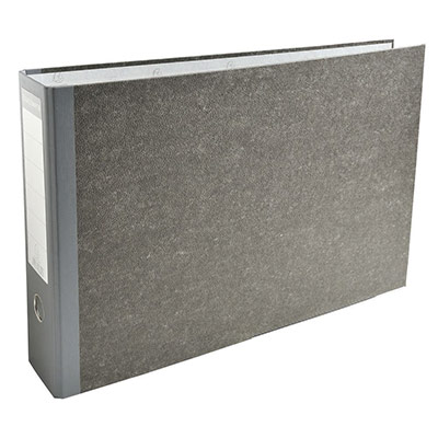 Classeur à levier Exacompta en carton gris - format 32 x 48 cm - dos 8 cm - gris