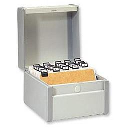Boîte à fiche Provence - 297 x 210 mm - plastique/métal - capacité 500 fiches - gris clair (photo)