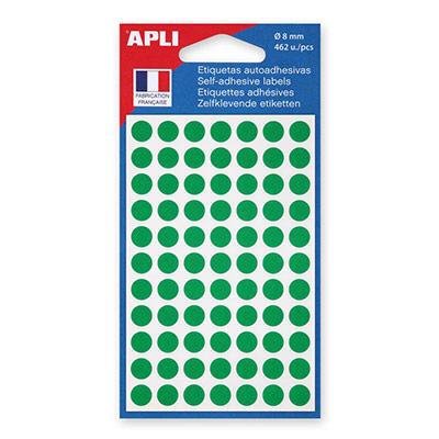 Pastilles adhésives diamètre 8 mm - vert - étui de 462