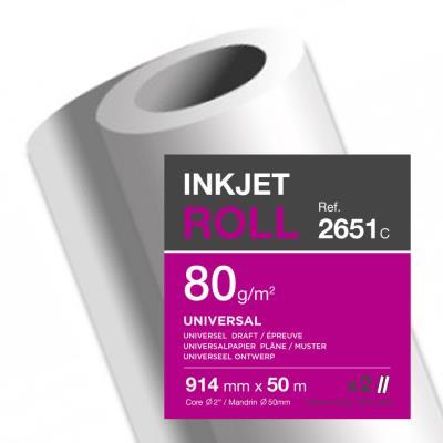 Bobine papier blanc pour traceur Clairefontaine - non couché - 80 g - 0,914 x 50 m
