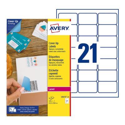 Étiquettes de masquage permanentes L4610 Avery - pour imprimante laser - opaques - 63,5 x 38,1 mm - blanc - 525 étiquettes par boîte (photo)