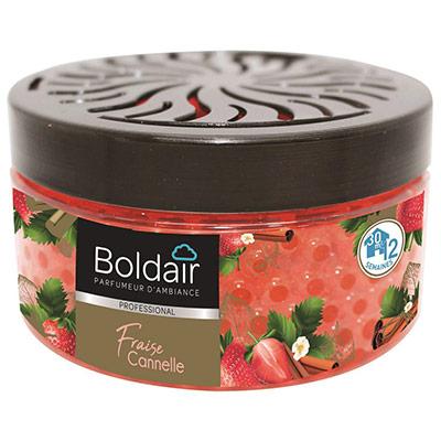 Billes parfumantes Boldair - 300 g - couvercle régalble - parfum fraise cannelle - pot (photo)