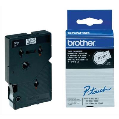 Cassette rubans Brother TC 201 - Ruban noir/blanc - Rouleau (1,2 cm x 7,7 m) (photo)