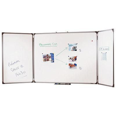 Tableau blanc Emaillé triptyque - magnétique - cadre aluminium anodisé - 89 cm x 240 cm
