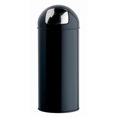 Poubelle Rossignol Push avec couvercle à trappe en métal - 45 L - D 31, H 77,5 cm - noir (photo)