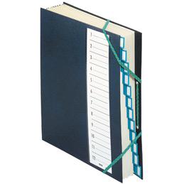 Trieur 12 compartiments avec élastiques Emey - couverture plastifiée - bleu (photo)
