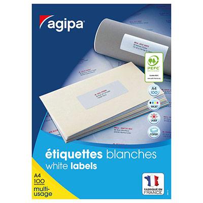 Étiquettes adhésives blanches multi-usages Agipa - 70 x 35 mm - 24 Étiquettes par feuille - paquet 2400 unités (photo)