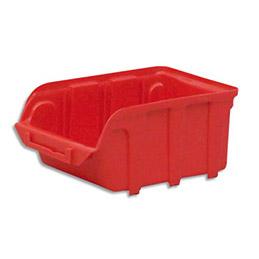 Bac à bec en plastique - 1 L - porte étiquette - polypropylène rouge - L 10 x H 7 x P 16 cm (photo)