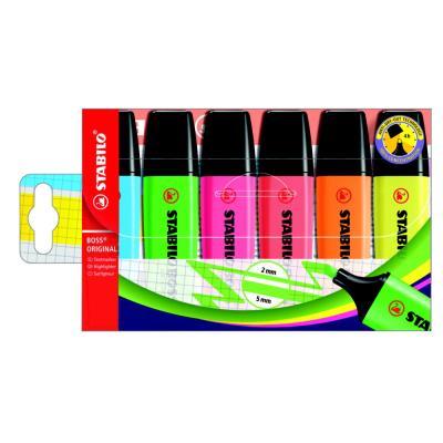 Stabilo Boss - pochette de 6 - coloris assortis : jaune/bleu/rose/vert/rouge/orange
