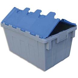 Bac de rangement navette - 50L - en polypropylène bleu & gris - L40xH31,2xP60 cm (photo)