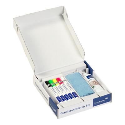 Kit d'accessoires de démarrageLegamaster pour tableaux en verre - 4 aimants - 5 marqueurs - chiffon microfibre - spray nettoyant TZ 7 - 506 g