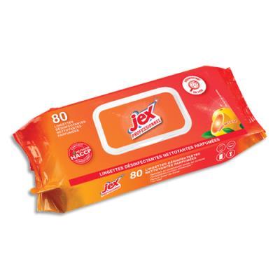 Paquet de 80 lingettes nettoyantes désinfectantes Jex Professionnel - senteur Soleil de Corse - dimensions lingette : L 19 x l 19 cm (photo)