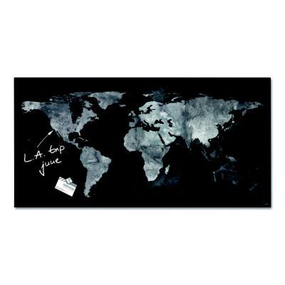 Tableau en verre magnétique Artverum - 91 x 46 cm - décor Carte du Monde