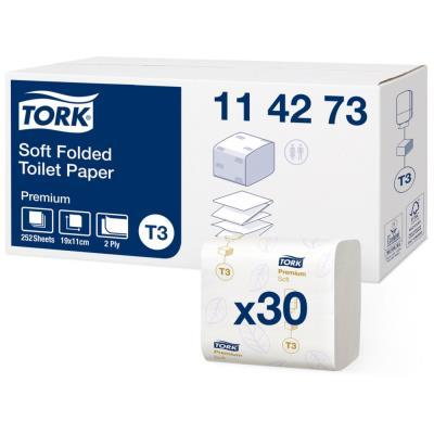 Papier toilette Tork Premium doux - 2 plis - 11 x 19 cm - colis de 30 paquets de 252 (7560 feuilles)