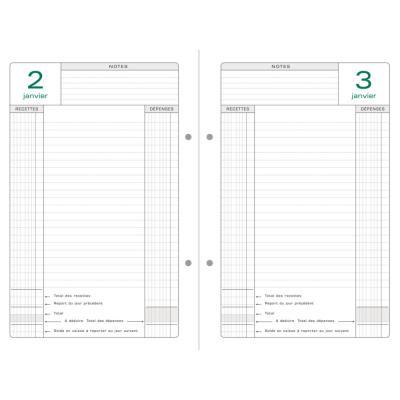 Recharge pour agenda de caisse perpetuel Exacompta format 16 x 24 cm