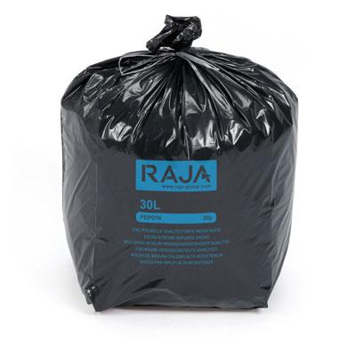 Sac poubelle Raja pour déchets courants - en plastique recyclé - 30 litres - 30 microns - diamètre 31,8 x H.70 cm - carton de 200 - noir