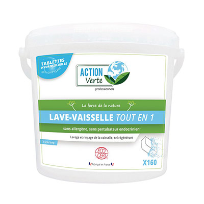 Tablettes lave-vaiselle Action Verte - hydrosolubles - cycle long - nettoient,rincent, anticalcaires - seau de 160 (photo)