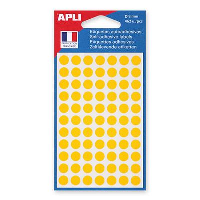 Pastilles adhésives diamètre 8 mm- jaune - étui de 462