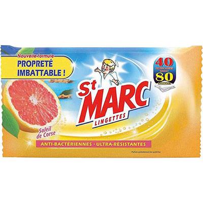 Lingettes nettoyantes et anti-bacteriennes St-Marc - parfum soleil de corse - paquet de 40