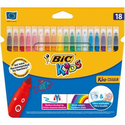 Etui de 18 feutres de coloriage Bic Kids Couleur - pointe moyenne - coloris assortis