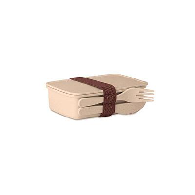 Boîte à repas Lunch box avec couverts - coloris beige (photo)
