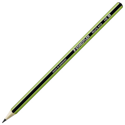 Crayon graphite Staedtler Noris Eco - crayon graphite - mine HB - corps hexagonal vert et noir - lot de 12 (photo)