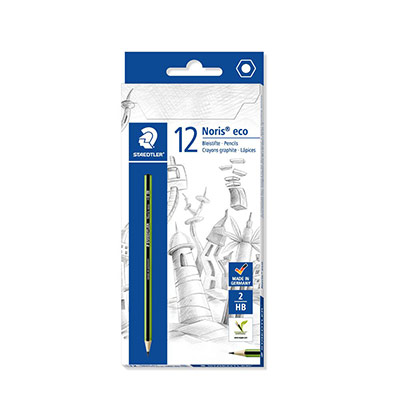 Crayon graphite Staedtler Noris Eco - mine HB - corps hexagonal - vert et noir - lot de 12 (photo)