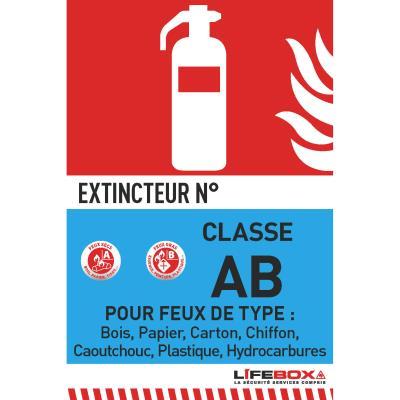 Panneau de signalisation Lifebox - classe feu AB - présence d'extincteur à eau pulvérisée
