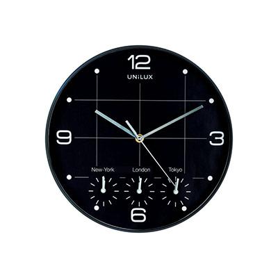 Horloge analogique à quartz On Time Ø 30,5 cm - 4 fuseaux horaires - noir (photo)
