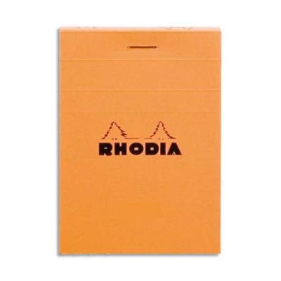 Bloc Rhodia - 80 g - 7,4 x 10,5cm - Orange - petits carreaux - 80 feuilles microperforées détachables - (photo)