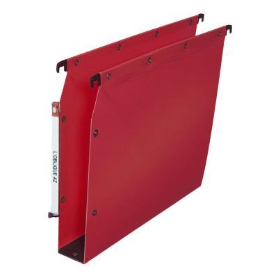 Dossiers suspendus L'oblique AZ en polypro rouge - pour armoire - fond 50 mm - rouge