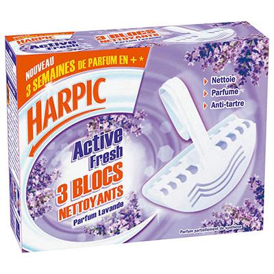 Nettoyant désinfectant lavande Harpic - boîte de 3 blocs (photo)
